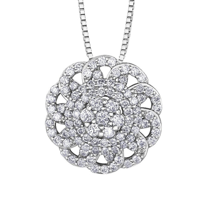 10KT WHITE GOLD .50CTTW DIAMOND OVAL PENDANT