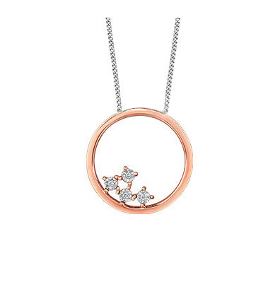 10kt Rose Gold Circle Diamond Pendant