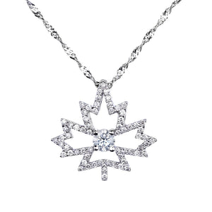 Maple Leaf Pendant Featuring a Canadian Diamond