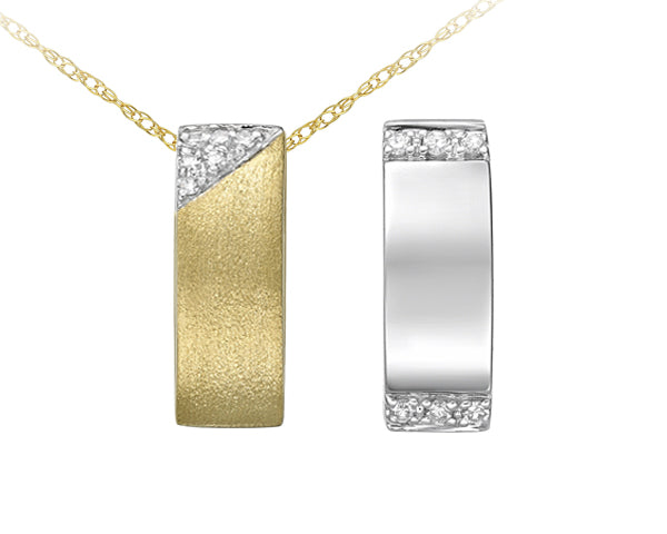 Reversible 10kt White And Yellow Diamond Pendant