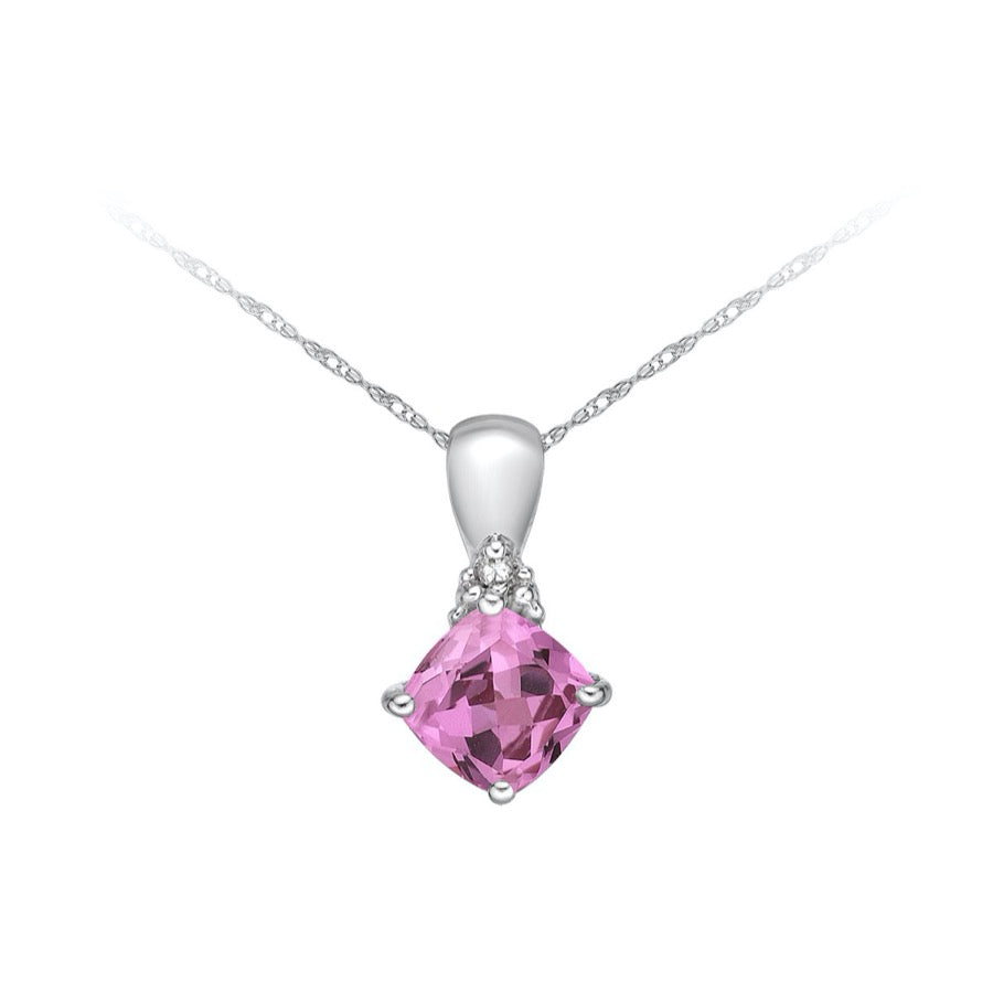 10kt White Gold Pink Sapphire and Diamond Pendant