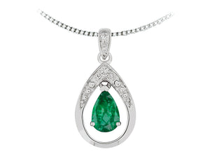 10kt White Gold Diamond and Emerald Pendant