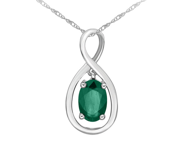 10kt White Gold Emerald Infinity Pendant