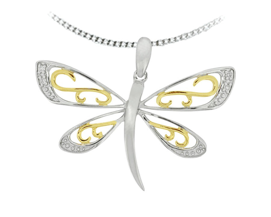 10kt White and Yellow Gold Diamond Butterfly Pendant