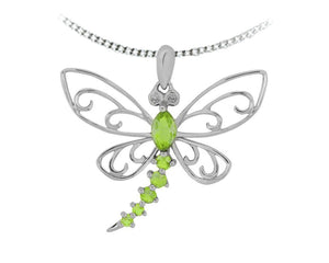 10kt White Gold Peridot Dragonfly Pendant