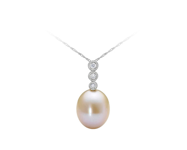10kt White Gold Pearl and Diamond Pendant