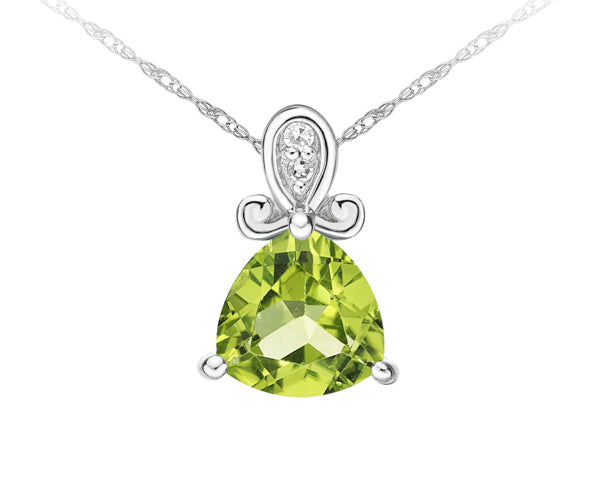 10kt White Gold Peridot And Diamond Pendant