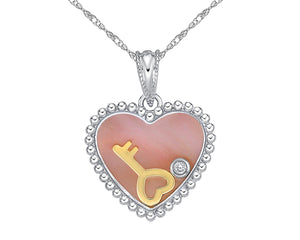 10kt White Gold Mother Of Pearl and Diamond Heart Pendant