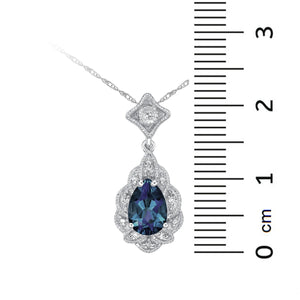 10kt White Gold Diamonds and Created Alexandrite Pendant