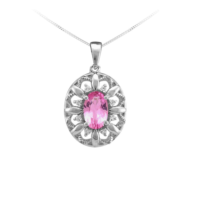 10kt White Gold, Pink Sapphire, and Diamond Pendant