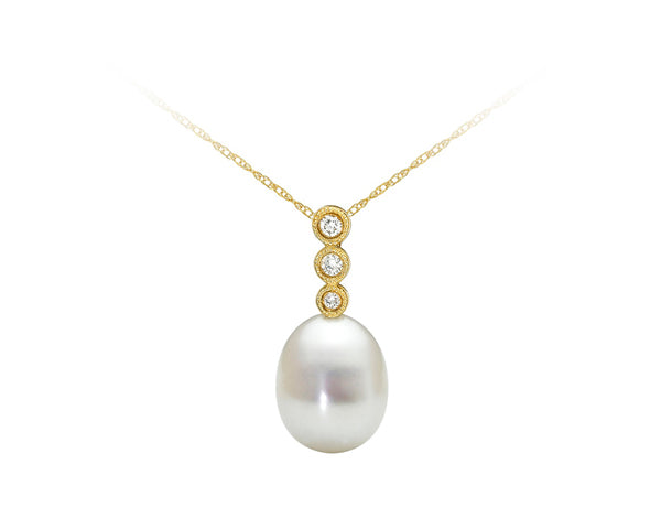 10kt Yellow Gold Pearl and Diamond Pendant