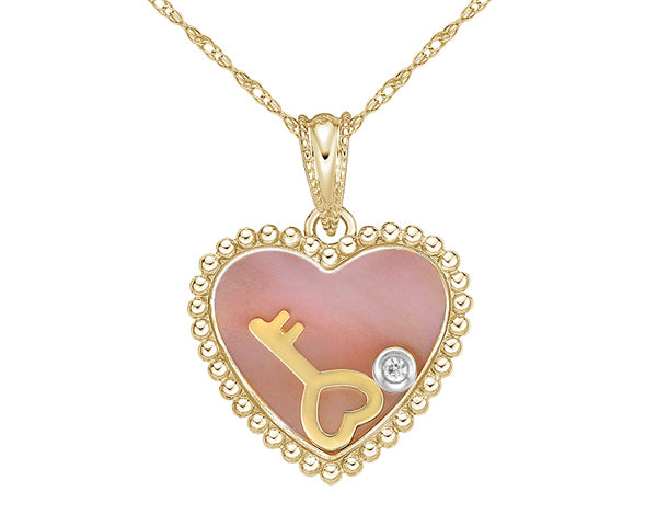 10kt Rose Gold Mother Of Pearl and Diamond Heart Pendant