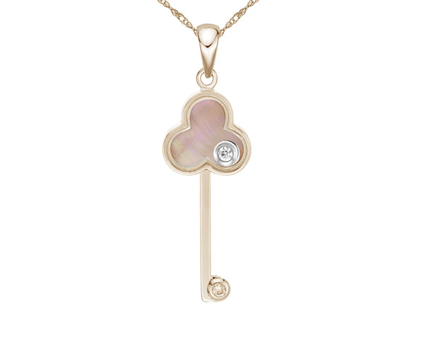 10kt Rose Gold Mother Of Pearl and Diamond Key Pendant