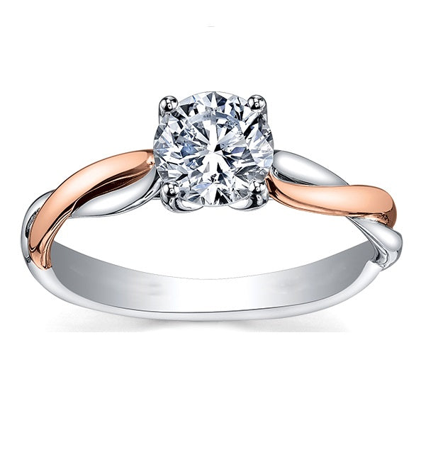 18kt Two Tone Gold Canadian 1.00ct Round Brilliant Solitaire Engagement Ring