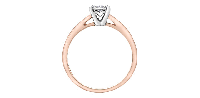 10kt Rose Gold Princess Cut Diamond Center Halo Engagement Ring