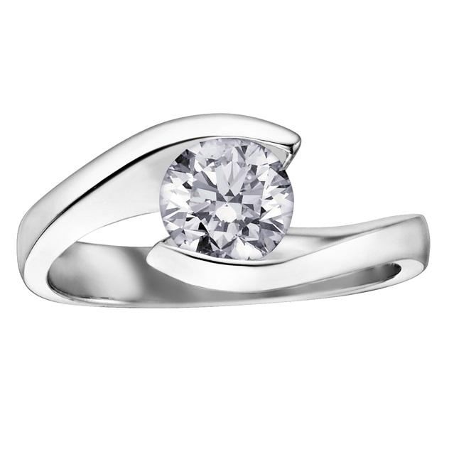 18kt White Gold 0.70ct Round Certified Canadian Solitaire Diamond Engagement Ring