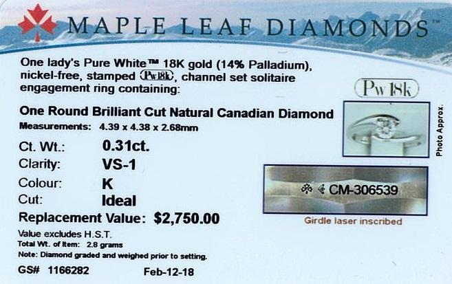 18KT WHITE GOLD 0.31CT ROUND CERTIFIED CANADIAN DIAMOND SOLITAIRE