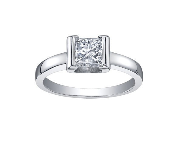18kt White Gold 0.70cttw Princess Cut Canadian Center Engagement Ring