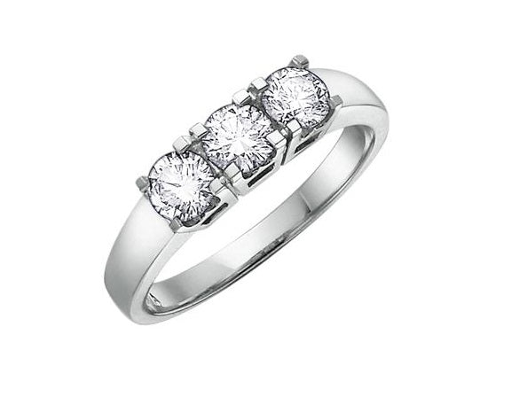 14kt White Gold 3 Across 0.54cttw Round Diamond Ring