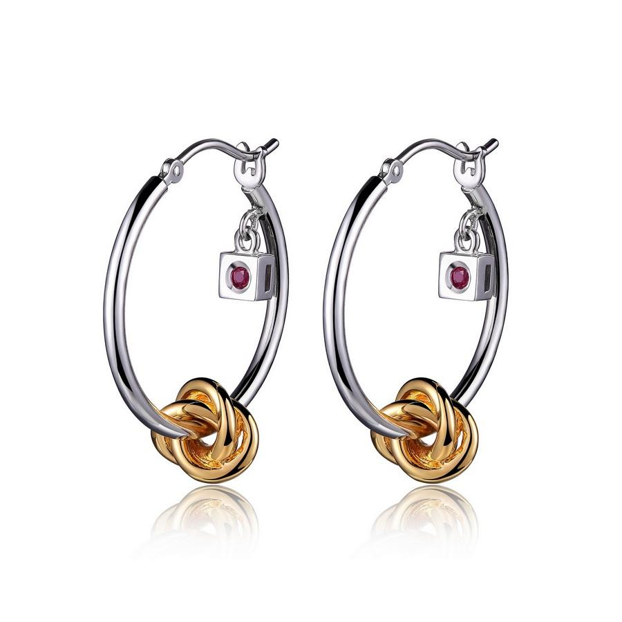 Sterling Silver Rhodium and Gold Plated Knot Hoop Earrings