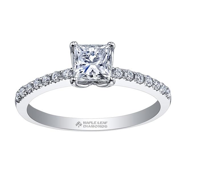 18kt White Gold 1.18cttw Engagement Ring With 1.01ct Princess Cut Canadian Center
