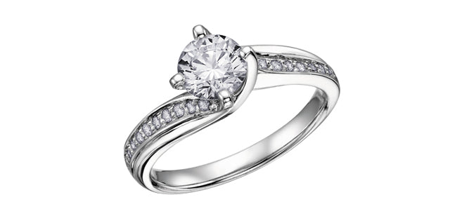 14kt White Gold Round Bypass 1cttw Canadian Diamond Engagement Ring