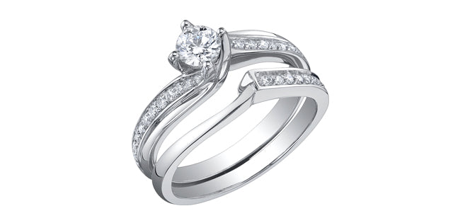 14kt White Gold Round Bypass 0.99cttw Canadian Diamond Engagement Ring
