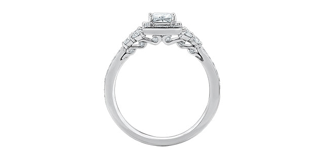 18kt White Gold 1.01cttw Engagement Ring With Princess Cut Canadian Center