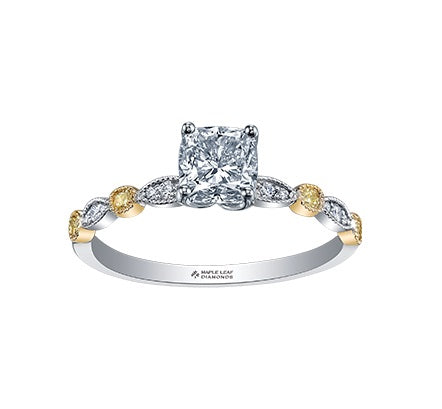 18kt White and Yellow Gold 1.17cttw Radiant Cut Engagement Ring with Yellow Diamonds