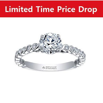 18kt White Gold Unique Canadian Diamond Engagement Ring
