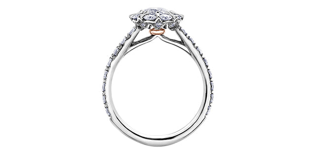 18kt White Gold 1.53cttw Canadian 150 Cut Diamond Halo Engagement Ring