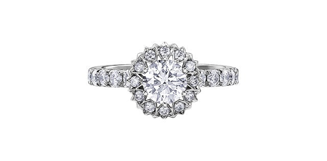18kt White Gold 1.52cttw Canadian 150 Cut Diamond Halo Engagement Ring