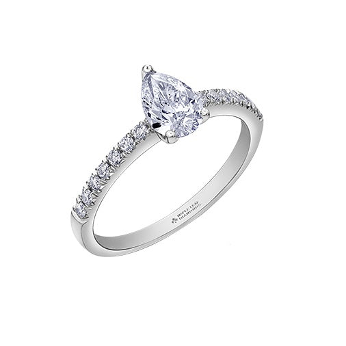 18kt White Gold 1.18cttw Pear Cut Canadian Engagement Ring