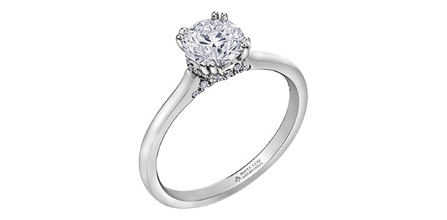 18kt White Gold Round 0.80cttw Canadian Diamond Engagement Ring