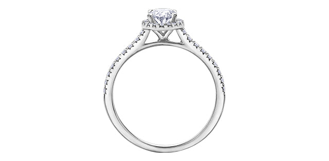 14kt White Gold 0.97cttw Oval Halo Engagement Ring