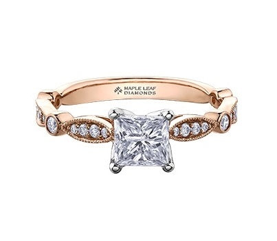 18kt Rose Gold 1.20cttw Princess Cut Canadian Diamond Engagement Ring