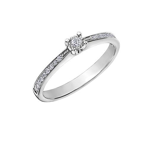 10kt White Gold 0.13cttw Engagement Ring