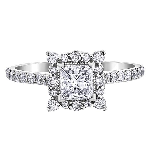 18kt White Gold 1.19cttw Square Diamond Engagement Ring