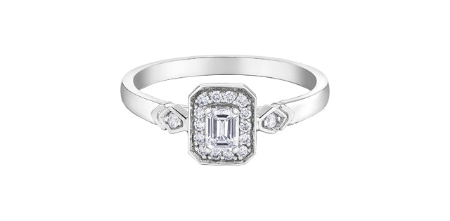 10kt White Gold Emerald Cut Diamond Halo Engagement Ring