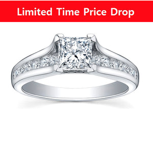 18kt White Gold 1.21cttw Engagement Ring With 0.71ct Princess Cut Canadian Center