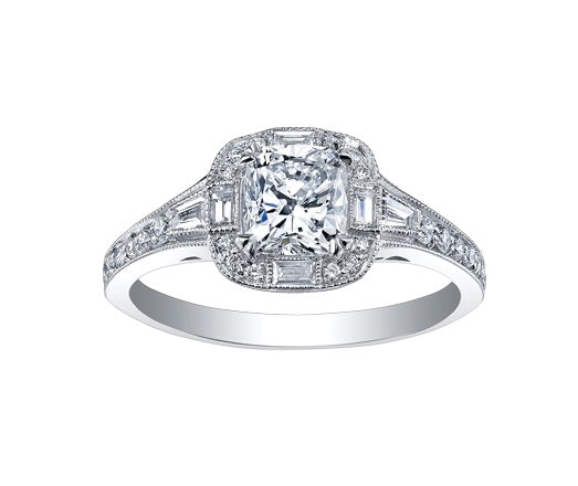 18kt White Gold Cushion Cut Halo Engagement Ring