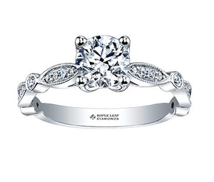 18kt White Gold 0.72cttw Round Canadian Diamond Engagement Ring