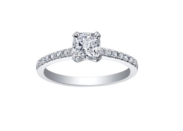 18kt White Gold 1.18cttw Engagement Ring With 1.04ct Cushion Cut Canadian Center