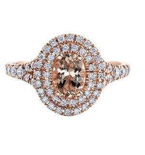 14kt Rose Gold Morganite and Diamond Halo Ring