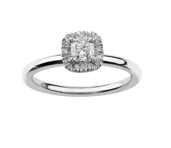 18kt White Gold 1.11cttw Certified Halo Engagement Ring