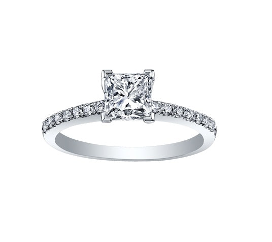 14kt White Gold 1.65cttw Engagement Ring With 1.40ct Princess Cut Canadian Center