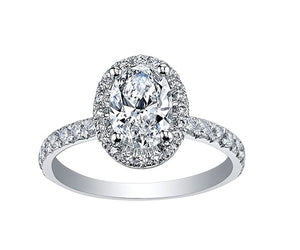 18kt White Gold 1.24cctw Oval shaped Halo Engagement Ring