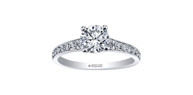 18kt White Gold 0.70cttw Canadian Diamond Center Engagement Ring