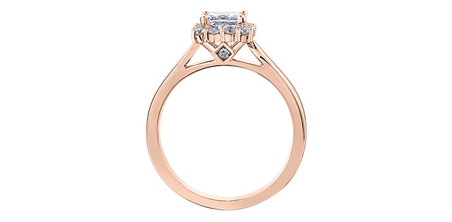 14KT ROSE GOLD PRINCESS CUT DIAMOND WITH HALO ENGAGEMENT RING