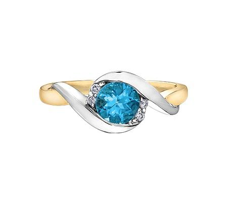 10kt Two Tone Blue Topaz and Diamond Ring
